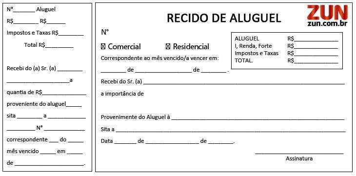 Modelos de Recibos de Aluguel. (Foto: Divulgação)