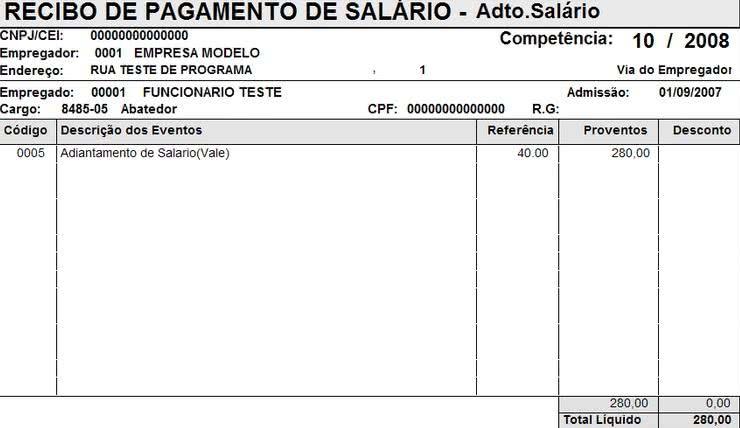 Modelos de Recibo de Pagamento de Salario.