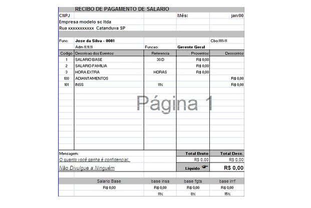 Recibo de Pagamento de Salario