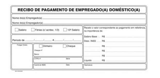 Modelos de Recibo de Empregada Doméstica. (Foto: Divulgação)