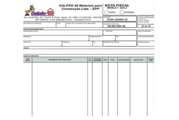 Modelos de Recibo de Nota fiscal. (Foto: Divulgação)
