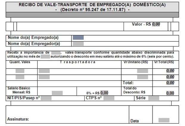 Modelos de Recibo de Vale Transporte. (Foto: Divulgação)