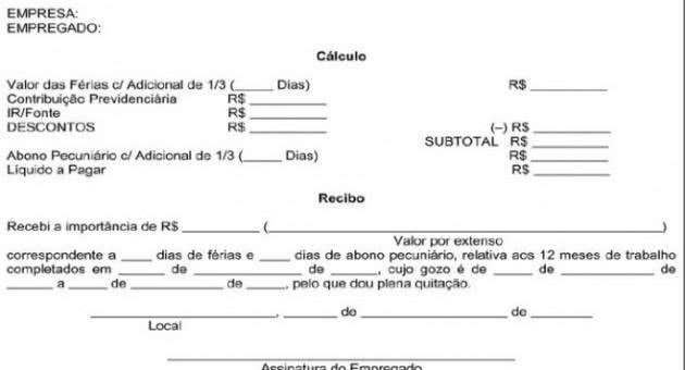 Recibo De Férias Modelos De Recibo De Férias Para Imprimir