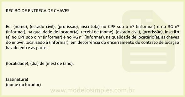 Recibo para Entrega de Chaves