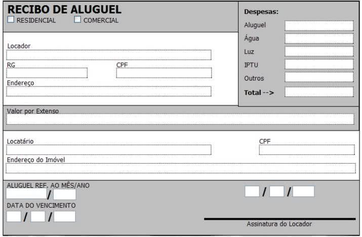 Excepcional Recibo de Locação - Modelos, Preencher, Imprimir YS02